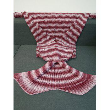 High Quality Knitting Wave Stripe Mermaid Tail Style Blanket -  RED