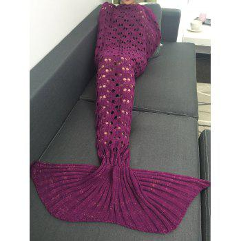 Crochet Heart Hollow Out Knitting Mermaid Tail Style Blanket -  RED VIOLET