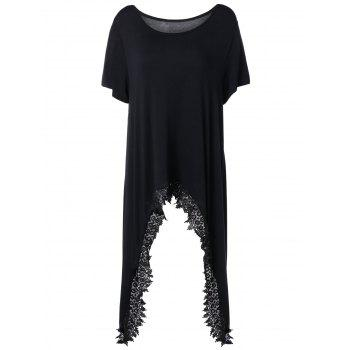 Scoop Neck Lacework Irregular Hem T-Shirt
