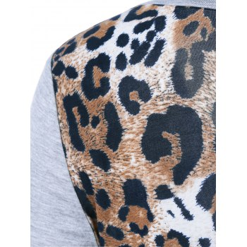 Leopard One Pocket Arc-Shaped Hem T-Shirt - LIGHT GRAY M
