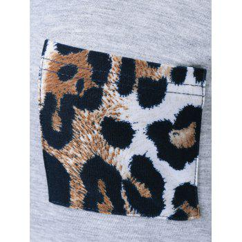 Leopard One Pocket Arc-Shaped Hem T-Shirt - LIGHT GRAY XL