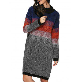 Zigzag Argyle Print Tunic Knitted Jumper Dress
