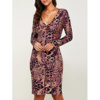 Packet Buttock Print Long Sleeve Leopard Dress