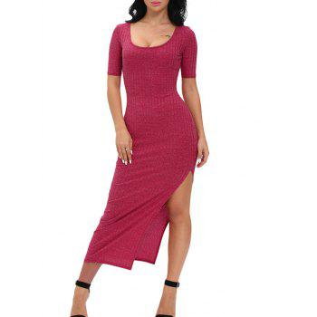 Ribbed Slit Bodycon Dress