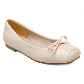 Bowknot Patent Leather Square Toe Flat Shoes