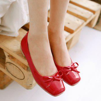 Bowknot Patent Leather Square Toe Flat Shoes - 38 38