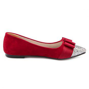 Bow Chaussures Glitter Color Block Flat - Rouge 40