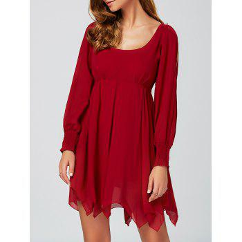 Casual U Neck Mini Handckerchief Skater Dress