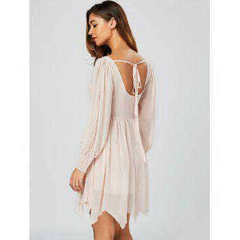 Casual U Neck Mini Handckerchief Dress - Rose Clair S