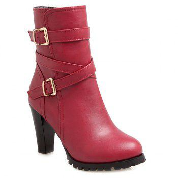 Cross Straps Chunky Heel Double Buckle Boots