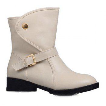 Buckle Strap Faux Leather Short Boots