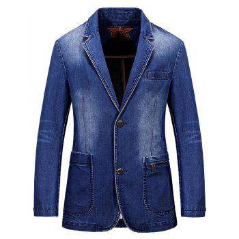 Buy Lapel Single-Breasted Bleach Wash Vintage Denim Coat LIGHT BLUE