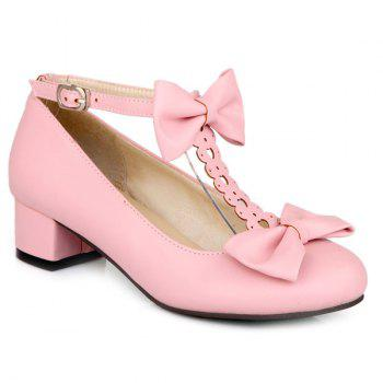 T-Strap Hollow Out Double Bow Pumps