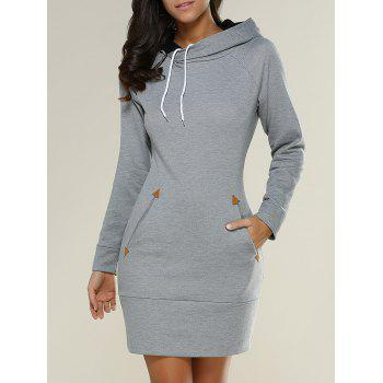 Long Sleeve Long Hoodie Mini Dress