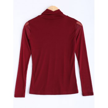 See-Through Fitting T-Shirt - WINE RED WINE RED