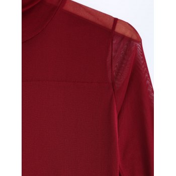 See-Through Fitting T-Shirt - WINE RED 2XL