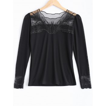 Beading Lace Spliced T-Shirt