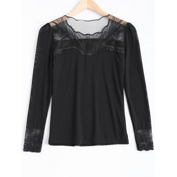 Beading Lace Spliced T-Shirt - BLACK BLACK