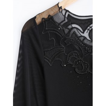 Lace Spliced Beading T-Shirt - BLACK BLACK