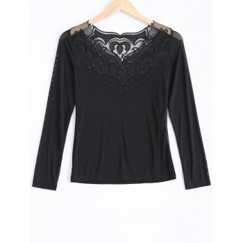 Lace Spliced Beading T-Shirt