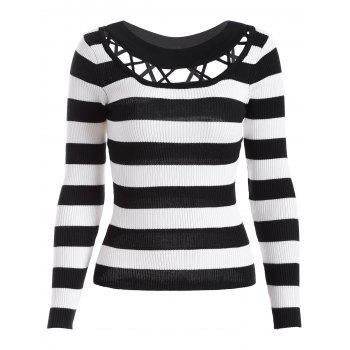 Hollow Out Striped Knitwear