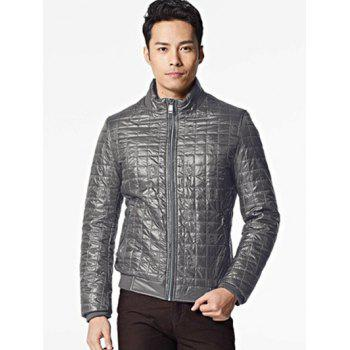 Geometric Zip Up Stand Collar Padded Jacket
