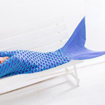 Fish Scale Warmth Comfortable Sofa Wrap Mermaid Blanket - LAKE BLUE