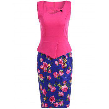 Rose Print Contrast Color Furcal Dress