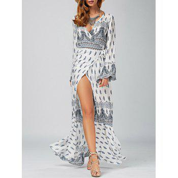 Plunging Neck Ethnic Print High Slit Wrap Dress