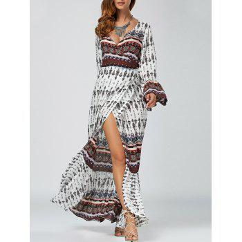 Maxi Boho Long Sleeve Slit Wrap Swing Dress