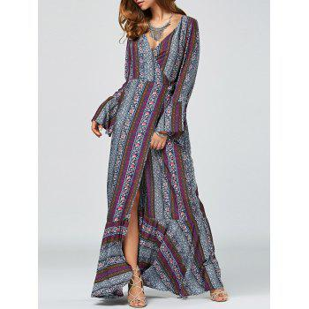 Maxi Flare Long Sleeve Bohemian Wrap Dress