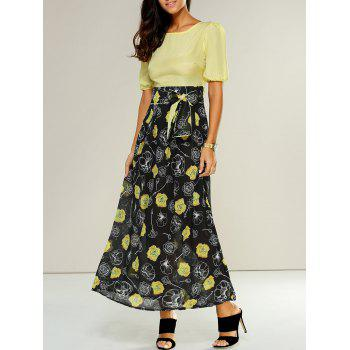 High-Waisted Floral Casual Maxi Dress