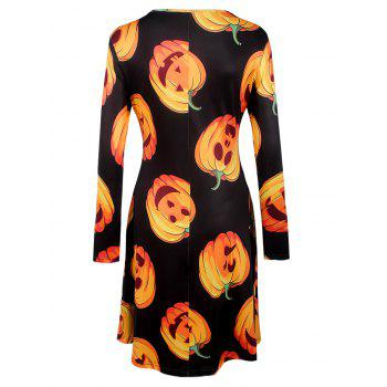 Halloween Pumpkin Print Long Sleeve Dress - BLACK XL