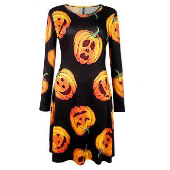Halloween Pumpkin Print Long Sleeve Dress