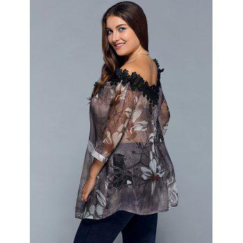 Plus Size Floral Print See-Through Blouse - multicolorcolore 2XL