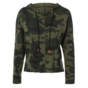 Pocket Drawstring Army Camouflage Hooded T-Shirt - ARMY GREEN ARMY GREEN