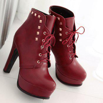 Rivet Chunky Heel Lace-Up Boots - RED 37