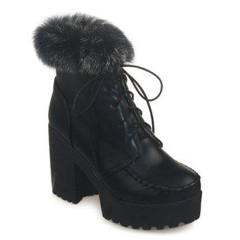 Faux Fur Lace-Up Chunky Heel Boots