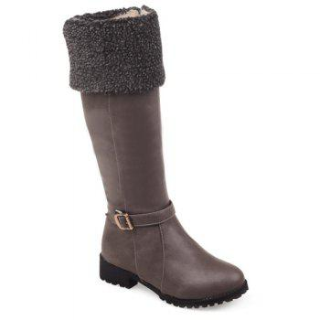 Faux Shearling Buckle Mid-Calf Boots