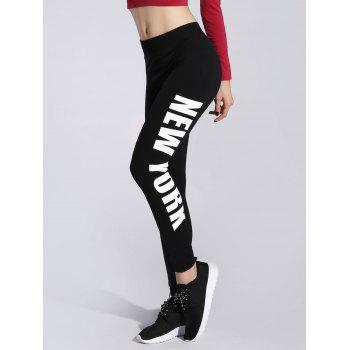 Letter Print Stretchy Sporty Leggings