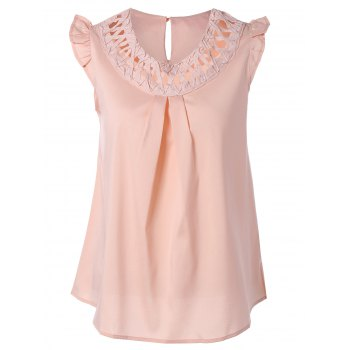 Cut Out Ruffled Ruched Tank Top
