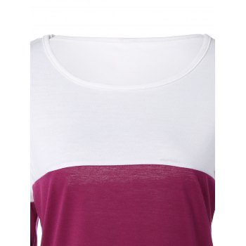 Buttoned Color Block T-Shirt - WHITE WHITE
