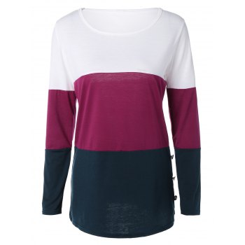 Buttoned Color Block T-Shirt