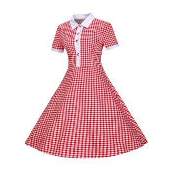 Plaid Buttoned 1940s Swing Dress - RED XL