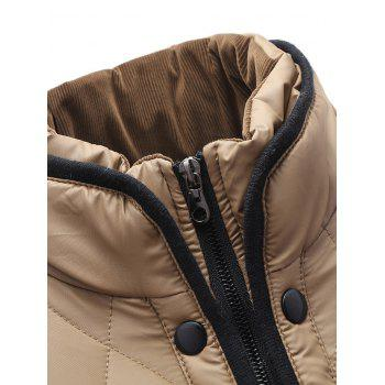 Pied de col Zip-Up Corduroy Splicing design Down Jacket - Kaki XL