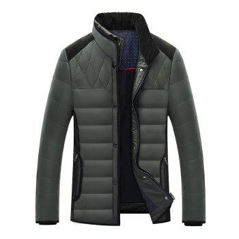 Stand Collar Zip-Up Corduroy Splicing Design Down Jacket