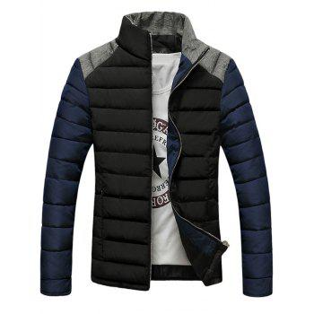 Stand Collar Zip-Up Color Block Splicing Design Down Jacket