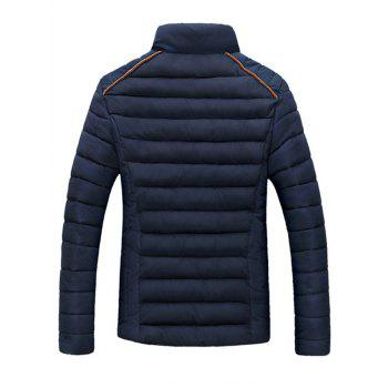 Pied de col Zip-Up Corduroy Spliced ​​design Down Jacket - Bleu Cadette M