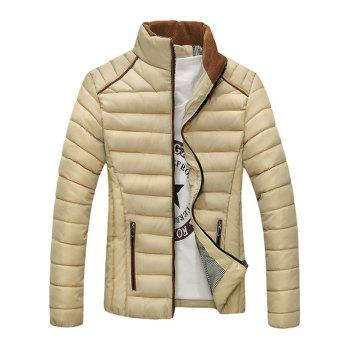 Stand Collar Zip-Up Corduroy Spliced Design Down Jacket
