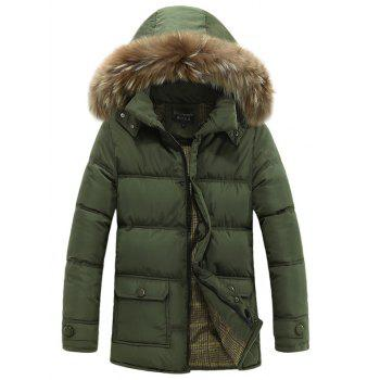 Lengthen Zip Up Padded Coat with Faux Fur Hood